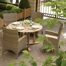 "Oxford Garden 5 Pc Torbay 48"" Shorea/Wicker Dining Set - Additional Spring Discounts"