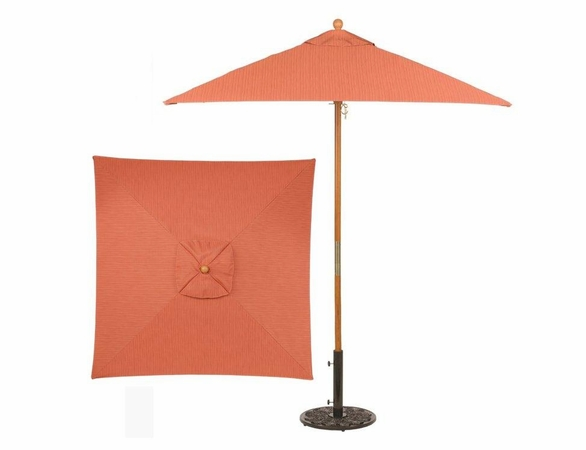 Oxford Garden 6' Square Sunbrella Market Umbrella - Wood Pole