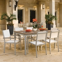 "Oxford Garden 7 Pc Travira Tekwood 63"" Dining Set w/ Sling Chairs"
