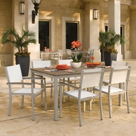 "Oxford Garden 7 Pc Travira Vintage Tekwood 63"" Dining Set w/ Sling Chairs - Additional Spring Discounts"