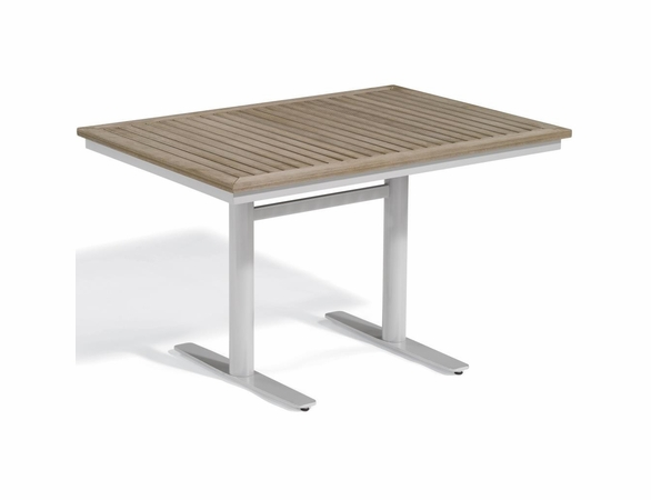 "Oxford Garden Travira 48"" Rectangular Tekwood Top Bistro Table"