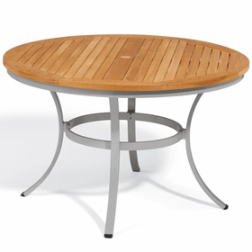 "Oxford Garden Travira 48"" Round Teak Top Dining Table - Reduced Closeout Pricing"