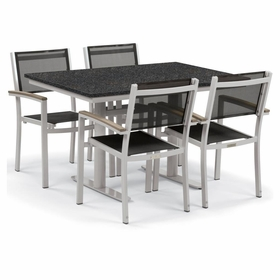 """Oxford Garden Travira 5 Piece Lite-Core and Black Sling Bistro Set with 34"""" x 48"""" Table"""