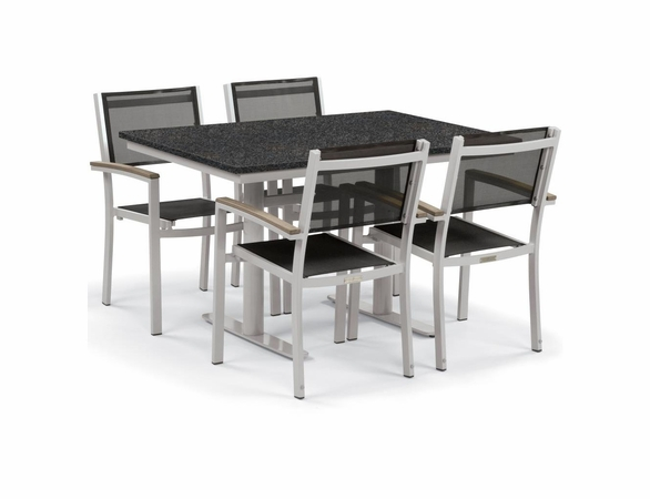 "Oxford Garden Travira 5 Piece Lite-Core and Black Sling Bistro Set with 34"" x 48"" Table - Summer Sale Event Additional Discounts"
