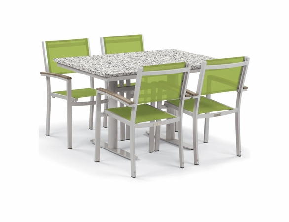"Oxford Garden Travira 5 Piece Lite-Core and Black Sling Bistro Set with 34"" x 48"" Table"