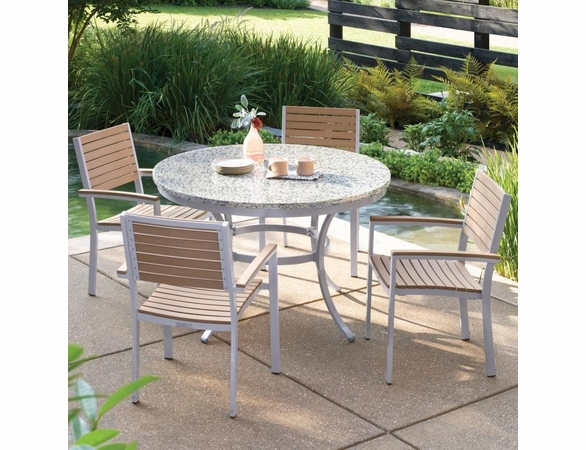 "Oxford Garden Travira 5-Piece Lite-Core Dining Set with 48"" Round Table"