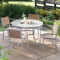 "Oxford Garden Travira 5-Piece Lite-Core Dining Set with 48"" Round Table - Summer Sale Event Additional Discounts - Lasts 'til Sept 8"