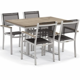 "Oxford Garden Travira 5 Piece Tekwood Bistro Set with 34"" x 48"" Table - Additional Spring Discounts"