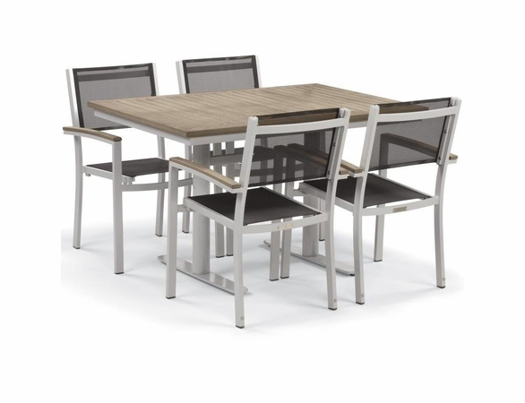 "Oxford Garden Travira 5 Piece Tekwood Bistro Set with 34"" x 48"" Table - Summer Sale Event Additional Discounts"