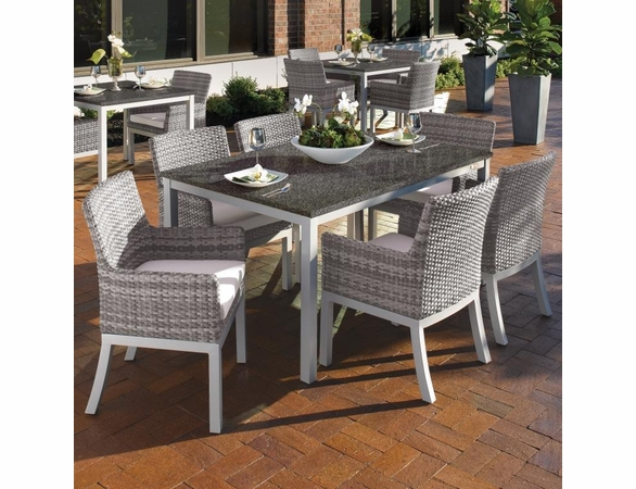"Oxford Garden Travira 7 Piece Dining Set with 63"" x 40"" Table"