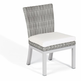 Oxford Garden Travira Argento Resin Wicker Armless Sidechair - Set of 2