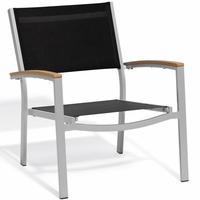 Oxford Garden Travira Chat Chair w/ Teak Armcaps (Set of 2) - Sling Color Options - End Of Season SALE!