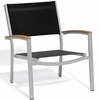 Oxford Garden Travira Chat Chair w/ Teak Armcaps (Set of 2) - Sling Color Options
