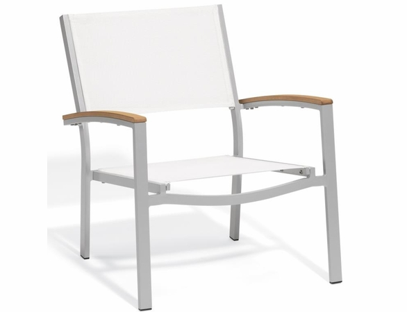 Oxford Garden Travira Chat Chair w/ Teak Armcaps (Set of 2) - Sling Color Options - Summer Sale Event Additional Discounts