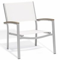 Oxford Garden Travira Chat Chair w/ Tekwood Armcap (Set of 2) - Sling Color Options - End Of Season SALE!