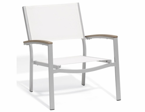 Oxford Garden Travira Chat Chair w/ Tekwood Armcap (Set of 2) - Sling Color Options - Summer Sale Event Additional Discounts
