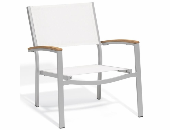 Oxford Garden Travira Chat Chair w/ Tekwood Armcap (Set of 2) - Sling Color Options