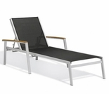 Oxford Garden Travira Sling Chaise Lounge w/ Teak Armcaps (Set of 2) - Sling Color Options - Additional Spring Discounts