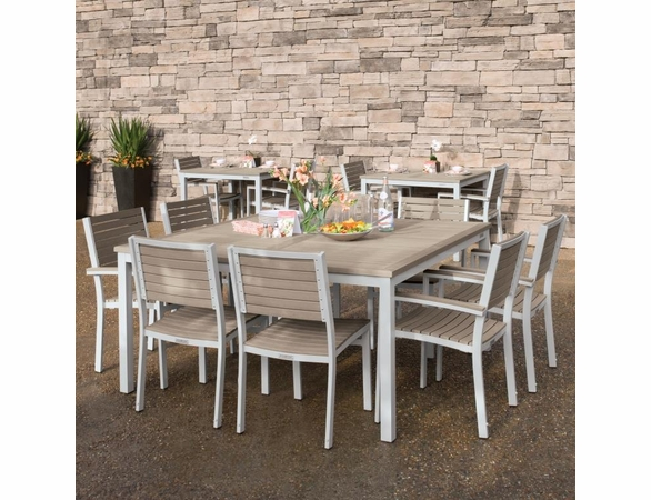 Oxford Garden Travira Tekwood 8 Seat Square Dining Set - Summer Sale Event Additional Discounts