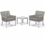 Oxford Garden Travira Wicker 3 Piece Lite-Core Conversation Set with End Table