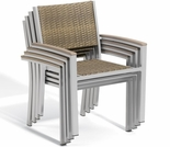 Oxford Garden Travira Wicker Armchairs w/ Teak Armcaps (Set of 2)