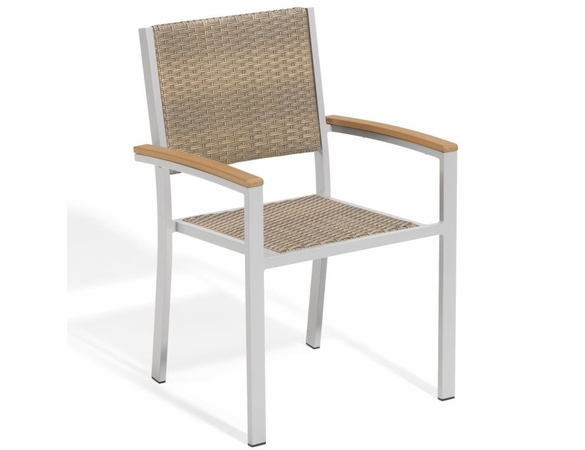 Oxford Garden Travira Wicker Armchairs w/ Tekwood Armcaps (Set of 2) - Reduced Closeout Pricing