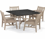 "Oxford Garden Wexford 5-Piece Lite-Core Dining Set with 48"" Table"