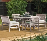 "Oxford Garden Wexford 5 Piece Lite-Core Dining Set with 48"" Table and Armchairs/Benches"