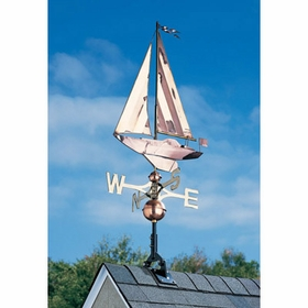 Copper Sailboat Weathervane - Polished or Verdi