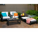 POLYWOOD® Club Deep Seating w/Bird's Eye Cushions 6-Piece Set