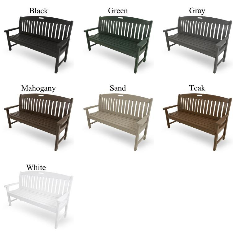 Polywood 174 Nautical 60 Inch Bench Outdoor Furniture Plus