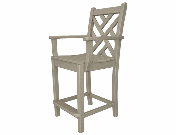 "POLYWOOD® Chippendale 42"" Counter Arm Chair"
