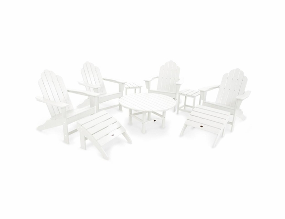 POLYWOOD® Long Island Adirondack 4 Seat Conversation Group w/Ottomans