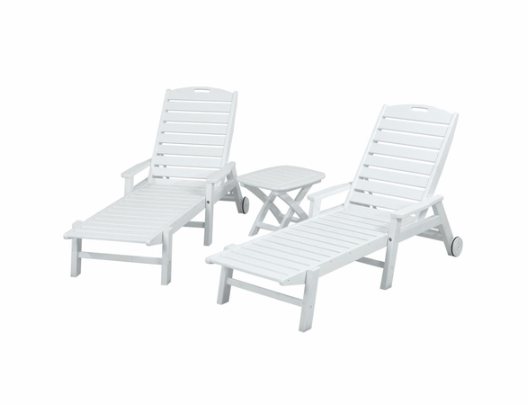 POLYWOOD® Nautical 3-Piece Chaise (with Arms) Set