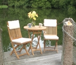 "Sailor Teak 30"" Round Semi-Folding Table Set with 2 Folding Sidechairs"