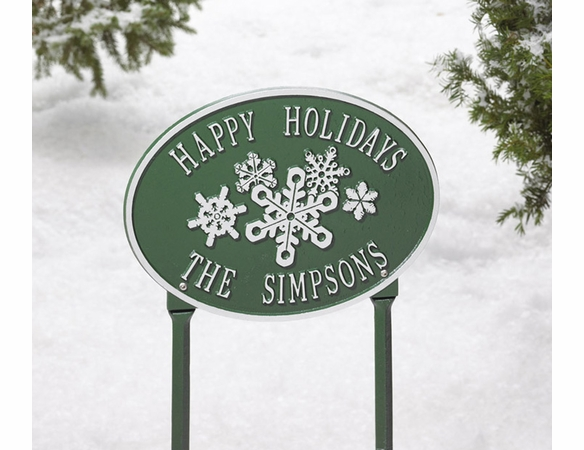 Snowflake Oval Personalized Plaque