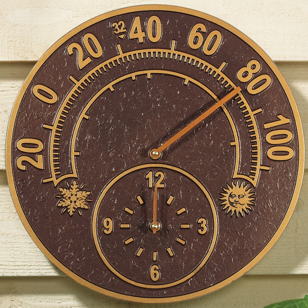 Solstice Outdoor Thermometer And Clock