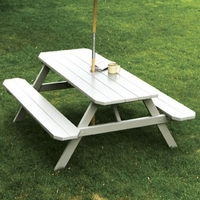 Pine Picnic Table with Attached Benches (4', 5', 6', or 8')