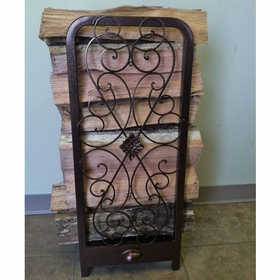 Tall Decorative Woodhaven Fireside Rack w/ Drawer