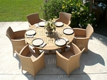 Teak 5' Round Drop Leaf Table Set with 6 Helena Chairs