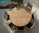 Teak 6' Round Drop Leaf Table Set with 8 Avant Chairs