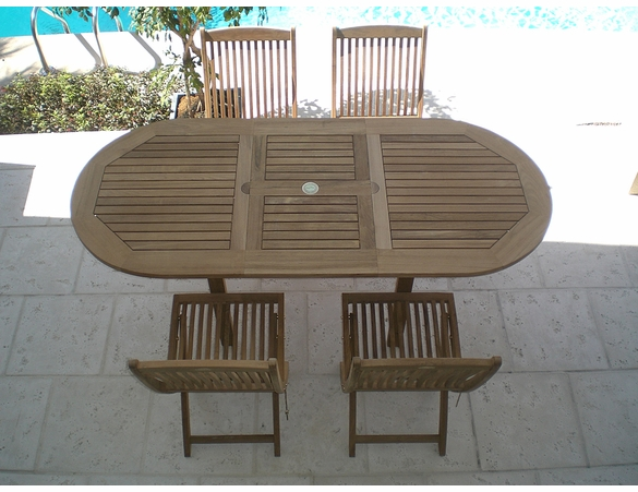 """Teak 60"""" - 78"""" Oval Expansion Table & 4 Sailor Side Chairs"""
