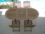 "Teak 60"" - 78"" Oval Expansion Table & 4 Sailor Side Chairs"