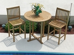 Teak Bar Table Set with 2 Bar Chairs