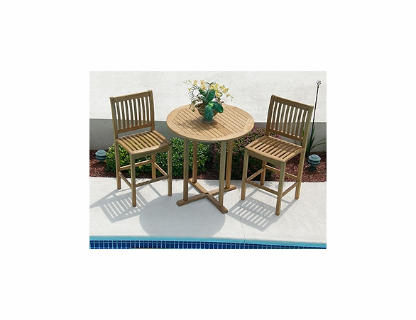 Teak Bar Table Set with Two Bar Chairs