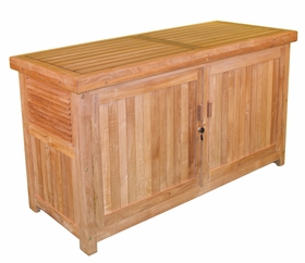 """Teak 62"""" Cushion Box w/ Front Door - Currently Out of Stock"""