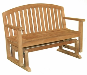 Teak 4' Fanback Glider Bench - Currently Out of Stock