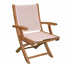 Teak Hampton Folding Sling Arm Chair