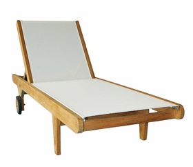 Teak Hampton Sling Chaise Lounge