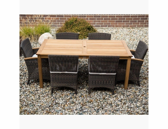Three Birds Brunswick Teak & Wicker Dining Set